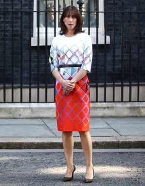 'Mummy, look, she's wearing your dress': Samantha Cameron looks on as the prime minister announces the result of the EU referendum