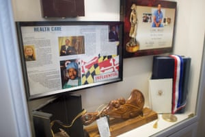There are also display cases filled with memorabilia about himself