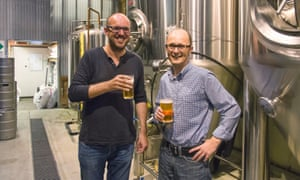 James Grugeon of the Good Beer Co and Darren Kindleysides, the chief executive of the Australian Marine Conservation Society.