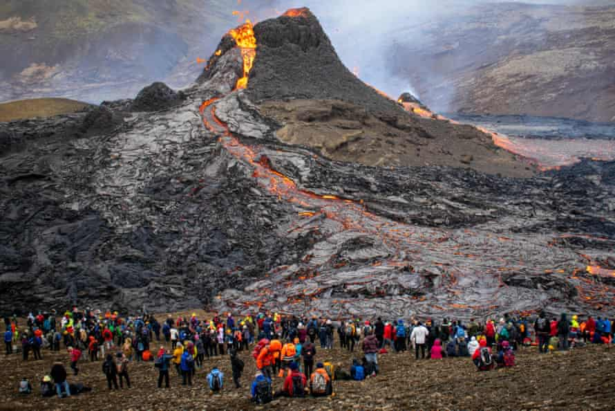 Almost 45,000 people have visited the Fagradalsfjall volcano since it erupted on 19 March.