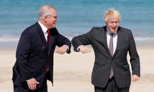 British prime minister Boris Johnson (right) greets his Australian counterpart Scott Morrison at the G7 summit in Carbis Bay, Cornwall on Saturday.