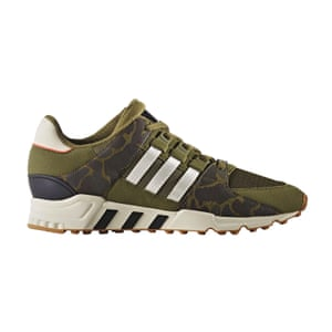 green camouflage addidas trainers with white stripes