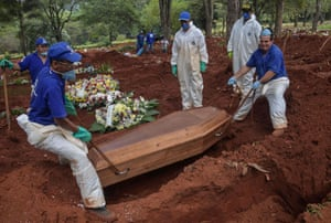 Grave diggers bury a person suspected to have died from Covid-19 at the Vila Formosa cemetery, on the outskirts of Sao Paulo