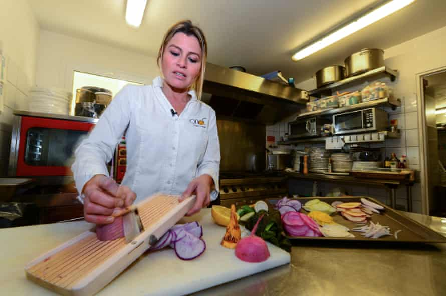 Chef Claire Vallée at her vegan restaurant Ona in Ares, near Bordeaux.