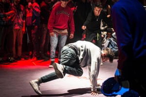 A breakdancer performs in Sousse, Tunisia
