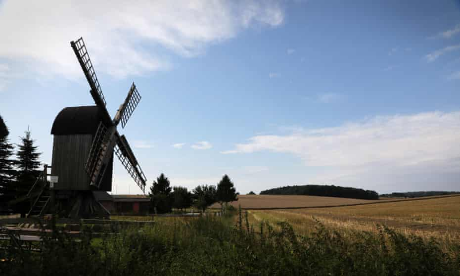 Windmill and wheat fields on Rugen island.