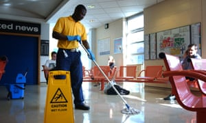 Hospital cleaner at work