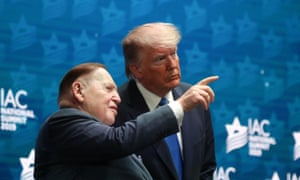 Donald Trump with Sheldon Adelson at the Israeli American Council national summit in Hollywood, Florida, in December.