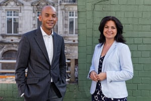 Chuka Umunna and Heidi Allen at a European elections rally in Cardiff.