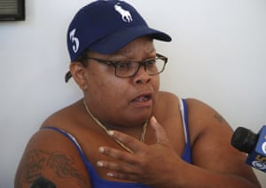 Alicia Grayson, the mother of Nia Wilson, speaks to reporters.