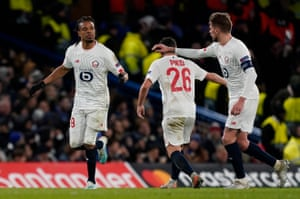 Lille's Loic Remy celebrates after scoring.