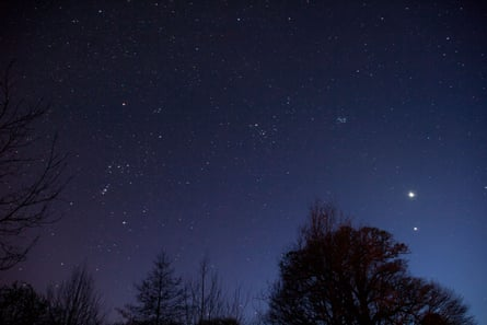 Night sky, with constellations and Venus and Mars close to each other.