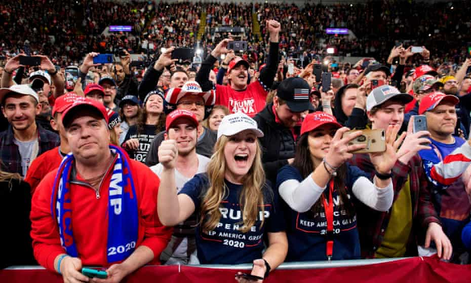 Trump supporters durin a 'Keep America Great' campaign rally in Milwaukee, Wisconsin, on 14 January.