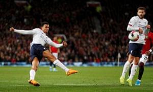 Liverpool's Trent Alexander-Arnold shoots at goal.