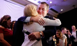 Ted Cruz hugs his wife Heidi after declaring victory.