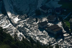 Bondo, Switzerland People remain missing after a massive landslide swept away a mountainside in the Swiss Alps, destroying buildings and forcing the evacuation of a village