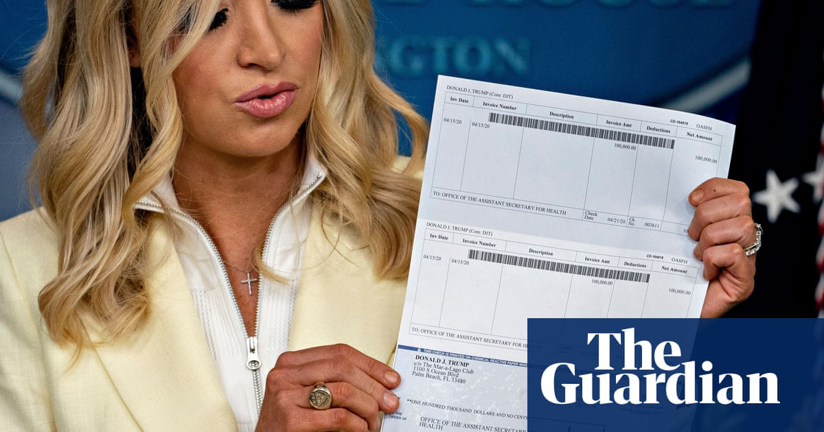 Donald Trump press secretary inadvertently reveals president's bank details | US news | The Guardian
