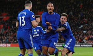 Kenneth Zohore celebrates scoring Cardiff's second goal against Southampton.