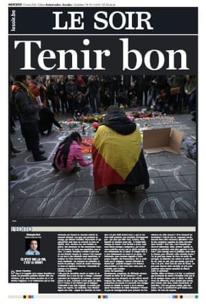 The front page of Le Soir