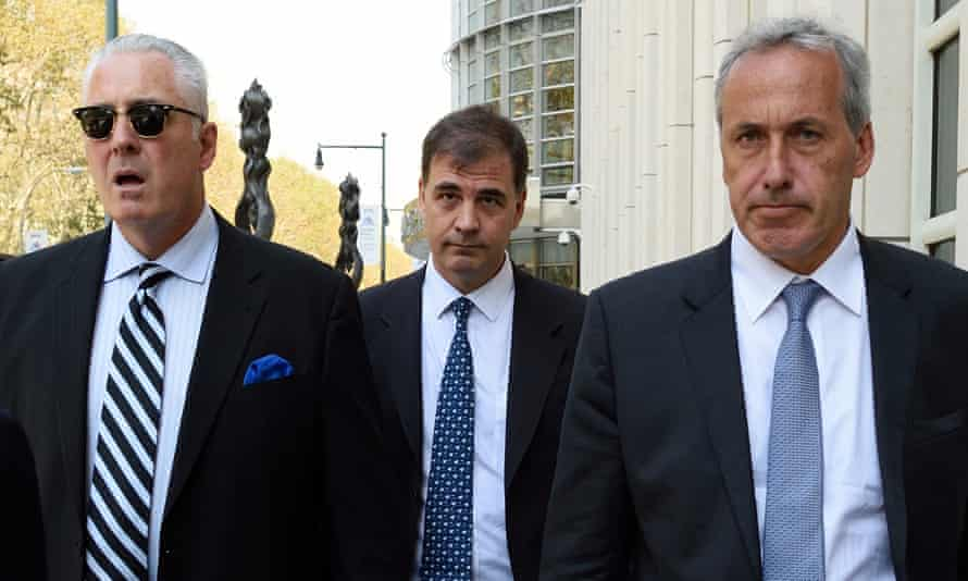 Alejandro Burzaco, center, a key witness in the corruption trial, gave evidence on alleged bribery.