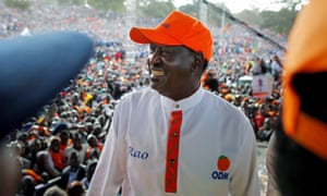 Raila Odinga at a rally on Saturday.