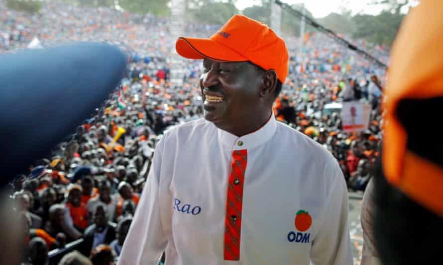 Raila Odinga at a rally on Saturday.