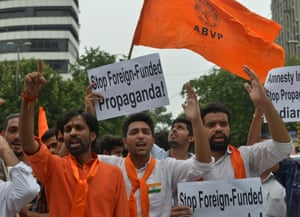 ABVP members protest in front of Amnesty office in DELHI