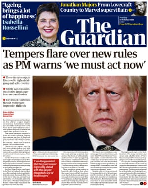 Guardian front page, Tuesday 13 October 2020