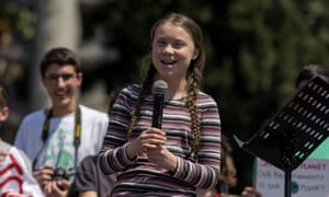 Greta Thunberg addressing a climate protest in Rome, April 2019