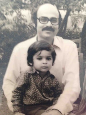 Mohsin Hamid with his father in Lahore, 1974.
