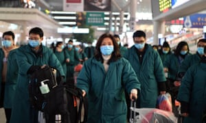 Members of a 137-strong Chinese medical team head to Wuhan on Sunday to aid the coronavirus control efforts.