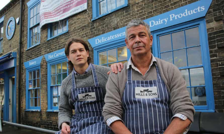 The father and son team at Mills and Son Butchers in Southwold high street, Suffolk