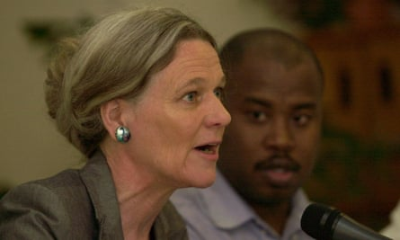 Yvonne Terlingen, Amnesty delegation leader, talking to the media during an Amnesty news conference in Port-au-Prince, Haiti, 2004.