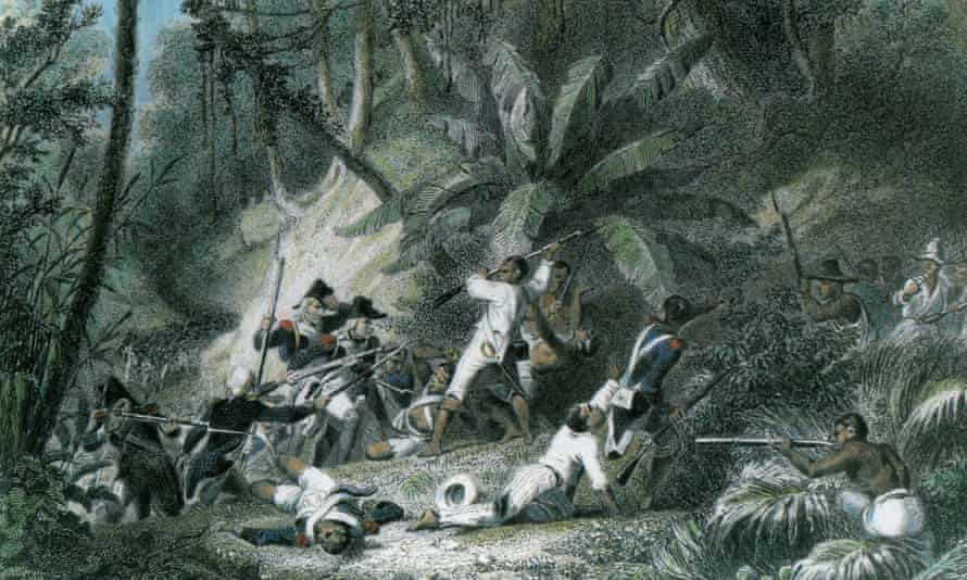 Print showing the Haitian slave revolt