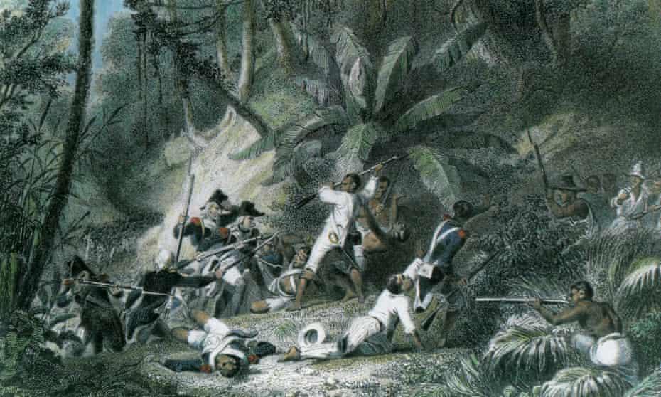 illustration of the Haitian slave rebellion of 1791, led by Toussaint L'Ouverture