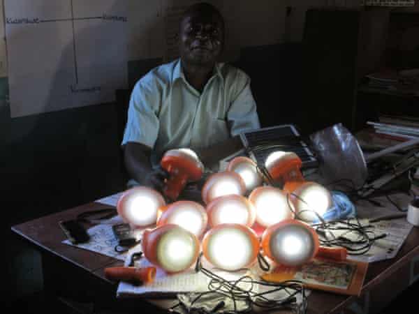 Solar lamps for St Martin school in Nambuma, Malawi, July 2015.