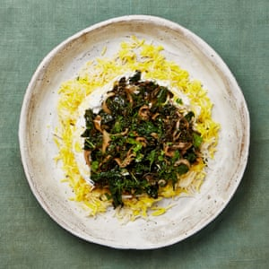 Yotam Ottolenghi's braised greens with dried lime and saffron rice.