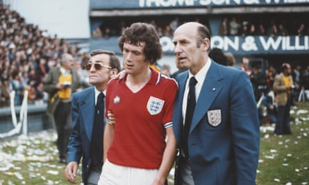 Trevor Cherry is led away by FA officials after being sent off against Argentina.