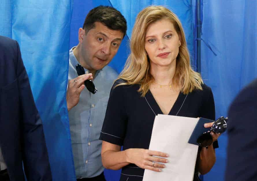 Volodymyr Zelenskiy and his wife, Olena, at a polling station during a parliamentary election in Kyiv, Ukraine, in July 2019.