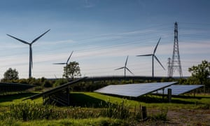 Solar panels and wind turbines in Avon, Somerset.