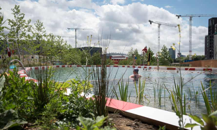The temporary open-air pool built in King's Cross, London, in 2015.
