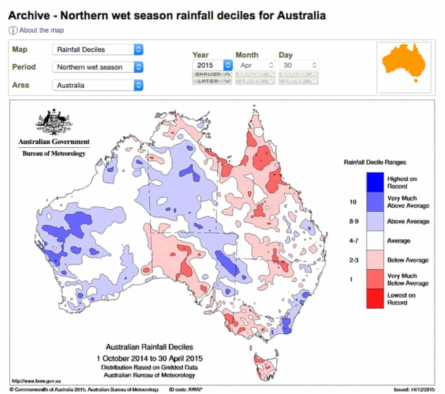 A graphic showing how much rainfall was above or below average in the northern Australian wet season of 2015.