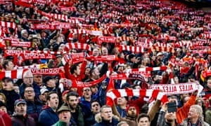 Liverpool supporters before a Champions League match against AS Roma