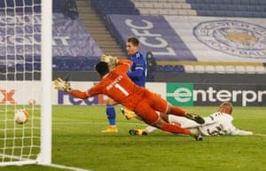 Leicester City's Dennis Praet scores their third goal.