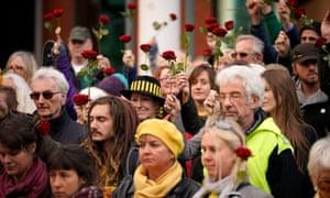 Anti-fracking protesters outside Preston Crown Court