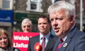 Carwyn Jones with Welsh Labour supporters