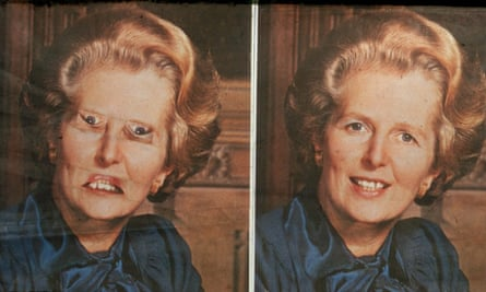 The Thatcher illusion shown the correct way up.