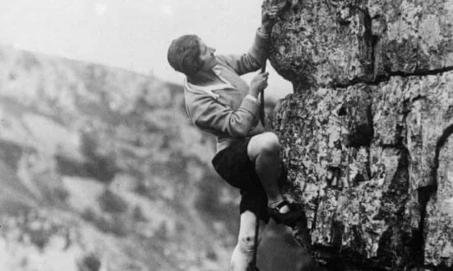 A female rock-climber, circa 1930s.