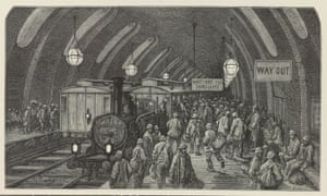 The Workmen's Train ... Steam trains depicted at Gower Street station on the Metropolitan underground line, which had opened in 1863.