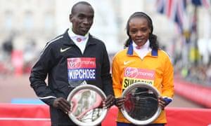 2016 London marathon winners, Eliud Kipchoge and Jemima Sumgong, also of Kenya.